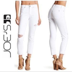 Joe's White Destroyed Straight Cropped Jeans 26 2